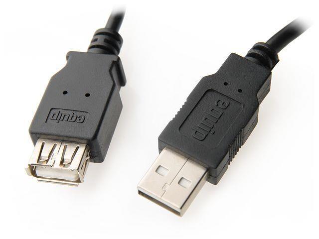 Equip AM-AF przedłużacz USB 2.0 1.8m (czarny, podwójny ekran)