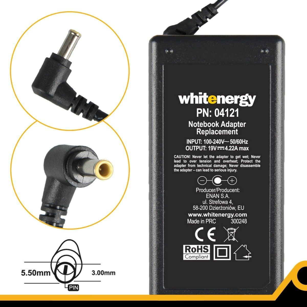 Whitenergy zasilacz 19V/4.22A 80W (wtyczka 5.5x3.0mm + pin Samsung)