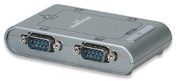 Manhattan Konwerter USB na port szeregowy RS232 DB9M, 4-portowy