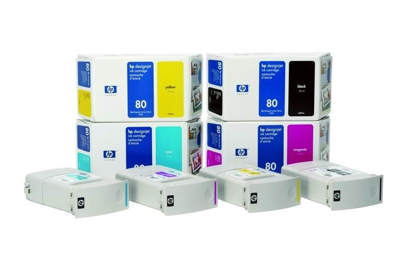 HP 80 Yellow (350 ml, designjet 1050c/c plus 1055cm/cm plus)