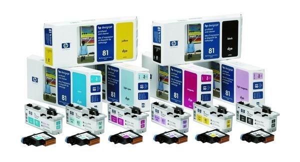 HP 81 Cyan Dye (głowica + gniazdo czyszczące, designjet 5x00pc/ps)