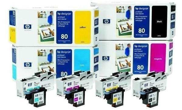 HP 80 Yellow (głowica + gniazdo czyszczące, designjet 1050c/c plus 1055cm)