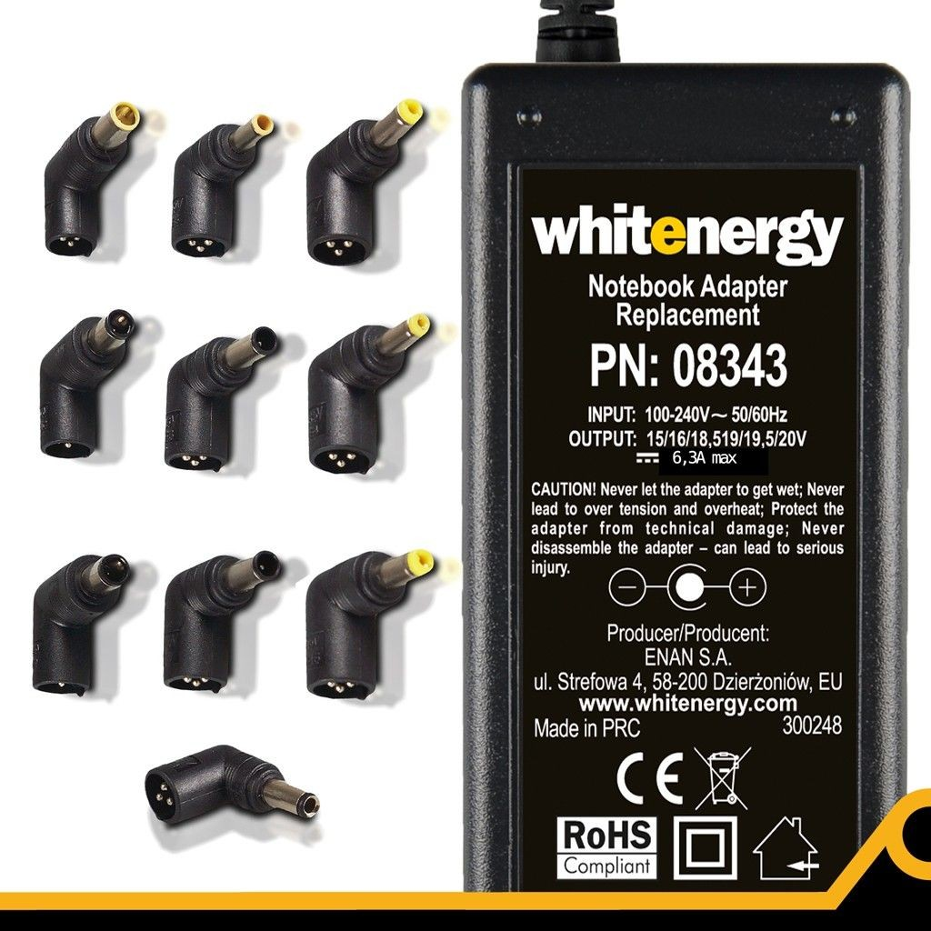 Whitenergy uniwersalny automatyczny zasilacz sieciowy do netbooków 90W (10 wtyków)