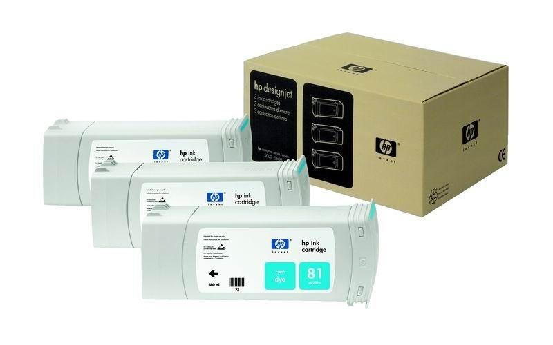 HP 81 Cyan Dye 3-Ink Multipack (680 ml, designjet 5500/5500pc 5000/5000ps)