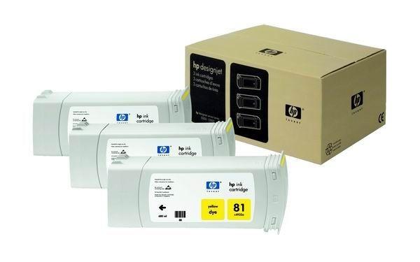 HP 81 Yellow Dye 3-Ink Multipack (680 ml, designjet 5500/5500pc 5000/5000ps)