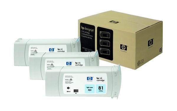 HP 81 Light Cyan Dye 3-Ink Multipack (680 ml, designjet 5500/5500pc 5000/5000ps)