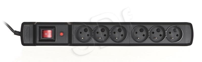 ActiveJet Listwa zasilająca przeciwprzepięciowa Combo 6gn (6szt. gniazd czarny 2 5m)