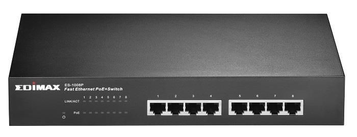 Edimax 8x 10/100 PoE+ Switch, 802.3at/af, 150W budget (30W/port)