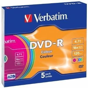 Verbatim DVD-R 4,7GB 16x Colour (slim case, 5szt)