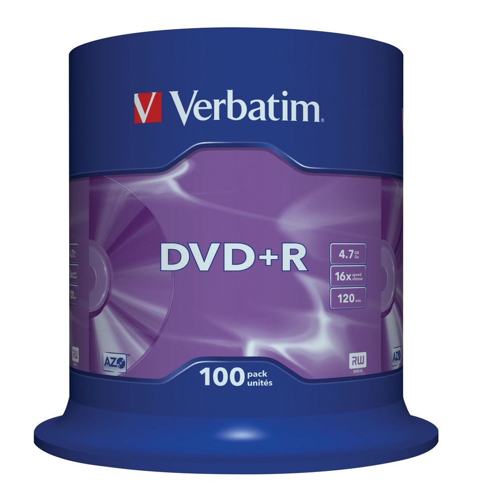 Verbatim DVD+R [ cake box 100 | 4.7GB | 16x | matte silver ]