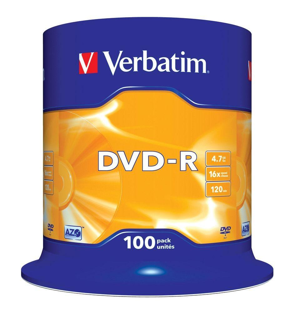 Verbatim DVD-R [ cake box 100 | 4.7GB | 16x | matte silver ]