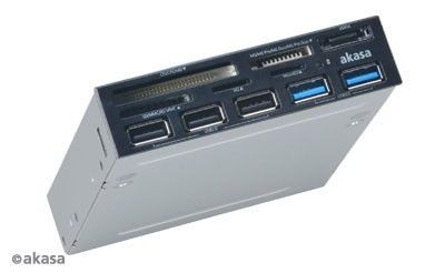 Akasa CZYTNIK KART & USB HUB AK-ICR-16 eSATA/USB3.0