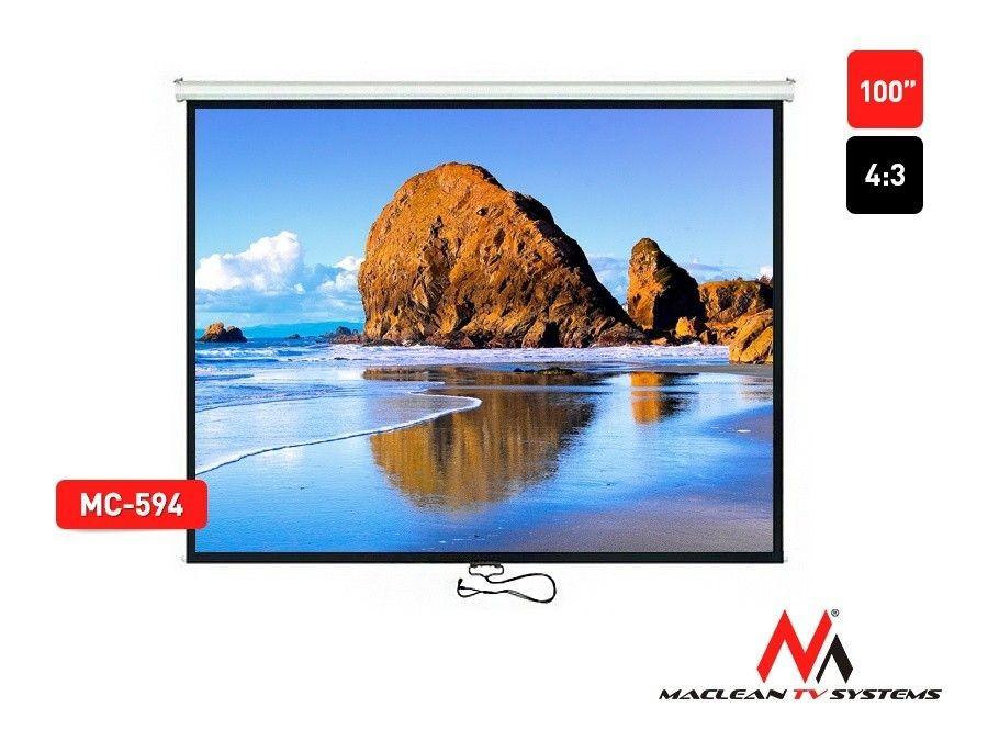 Maclean MC-594 Ekran projekcyjny 100 4:3 200x150 auto-lock biały ściana sufit
