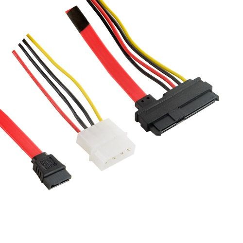 4World Kabel HDD | 29pin SAS (F) - 7pin SATA (F) & LP4 | 45cm | czerwony