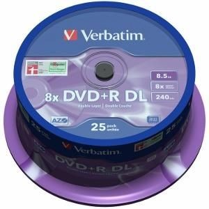 Verbatim DVD+R DL [ spindle 25 | 8,5GB | 8x | MATT SILVER ]