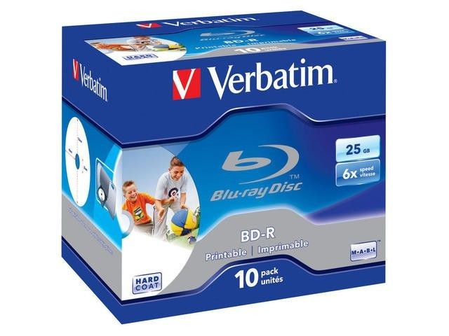 Verbatim BluRay BD-R [ jewel case 10 | 25GB | 6x | PRINTABLE SURFACE HARD COAT ]