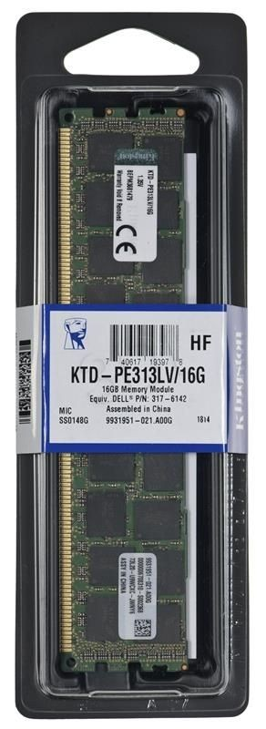 Kingston Pamięć Kingston 16GB 1333MHz Reg ECC Low Voltage Moduł