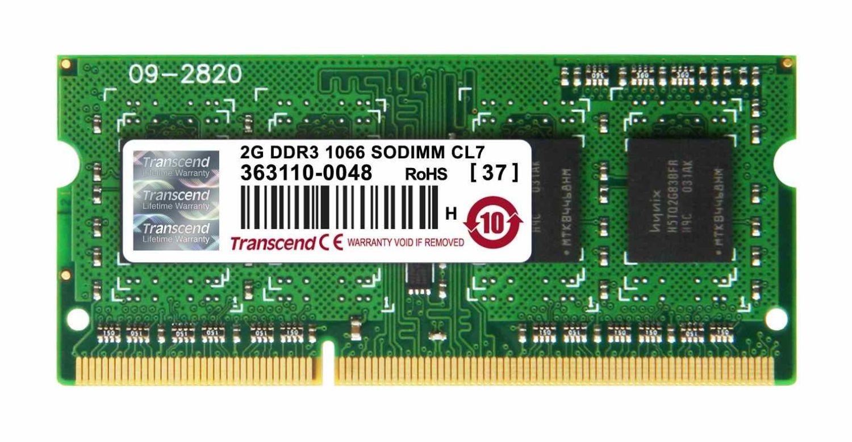 Transcend 2GB DDR3 1066MHz CL7 SODIMM zam. KTL-TP1066/2G