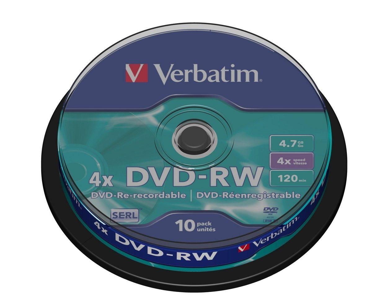 Verbatim DVD-RW 4,7GB x4 (cake box, 10szt)