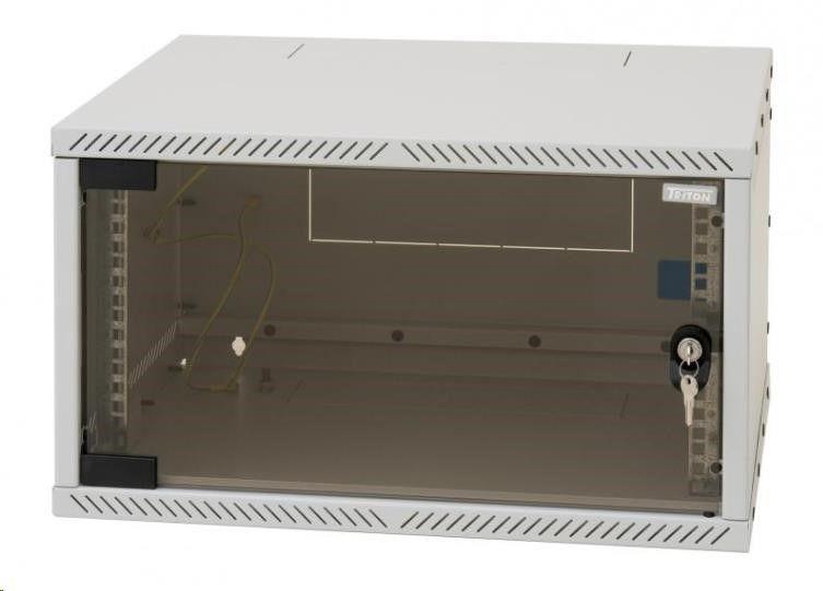 Triton 19 Szafa wisząca jednosekcyjna demontowalna RXA-06-AS4-CAX-A1 (6U 400mm głębokośc przeszklone drzwi kolor jasnoszary RAL7035 FLAT-PACK)