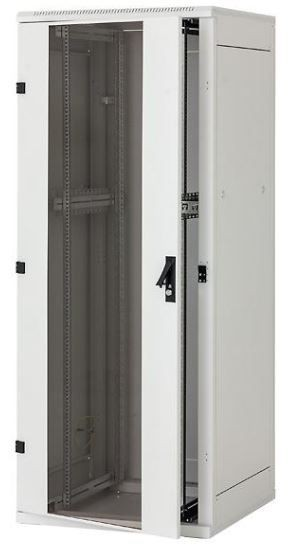 Triton Szafa rack 19 stojąca RMA-32-A81-CAX-A1 (32U 800x1000mm trzypunktowe zawiasy przeszklone drzwi kolor jasnoszary RAL7035)