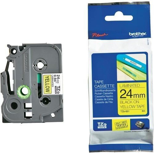 Brother TZe-651 Laminated Tape Black On Yellow, TZe, 8 m, 2.4 cm
