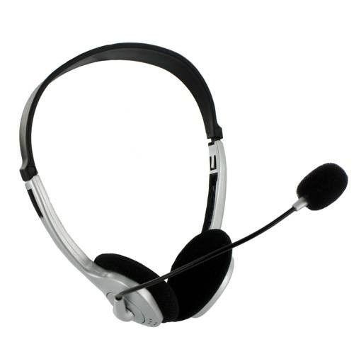 4World Słuchawki z Mikrofonem srebrne, regulacja głośności na kablu