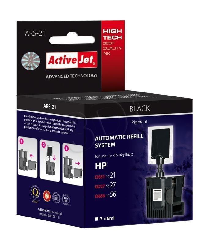 ActiveJet automatyczny system napełniania ARS-21 kolor czarny do HP 21/27/56 3x6ml