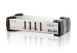 Aten CS1734A 4-Port USB KVMP Switch, 4x USB KVM Cables, 2-port USB Hub, Audio