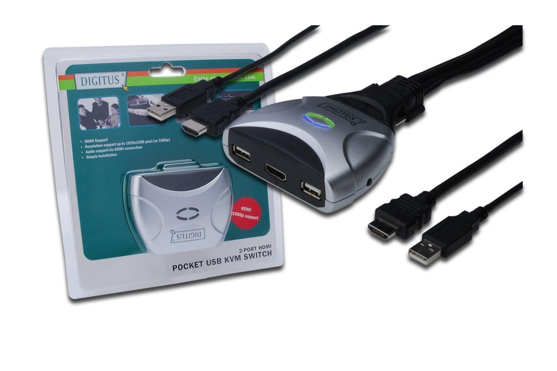 Digitus Mini przełącznik KVM HDMI USB, 2-portowy