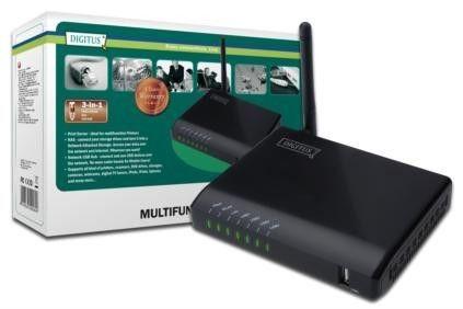 Digitus Wielofunkcyjny serwer sieciowy WLAN 4x USB2.0, NAS, serwer wydruku