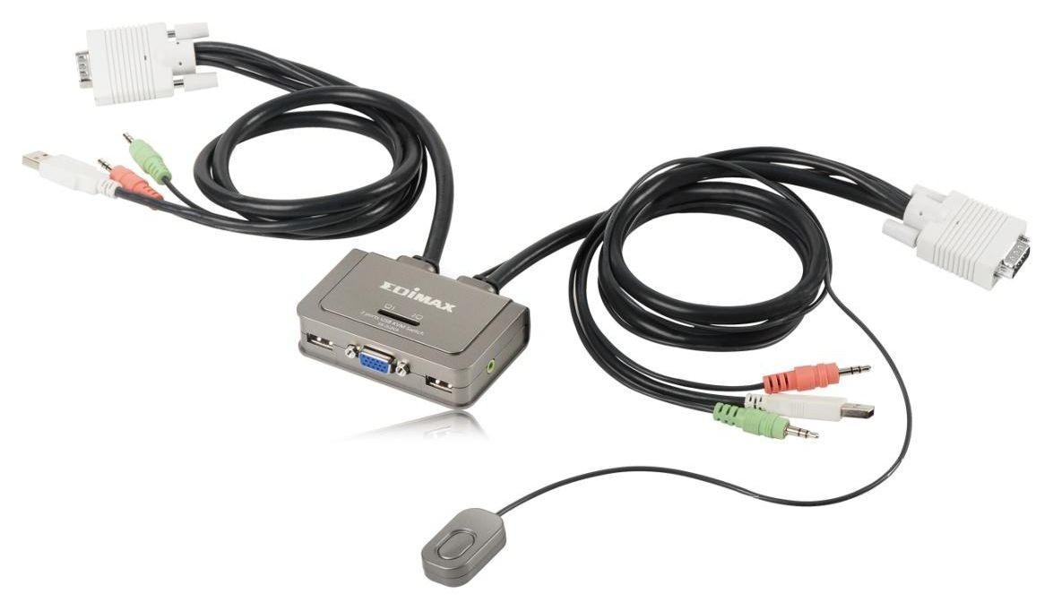 Edimax KVM USB Audio Switch dla 2 komputerów, kable w zestawie