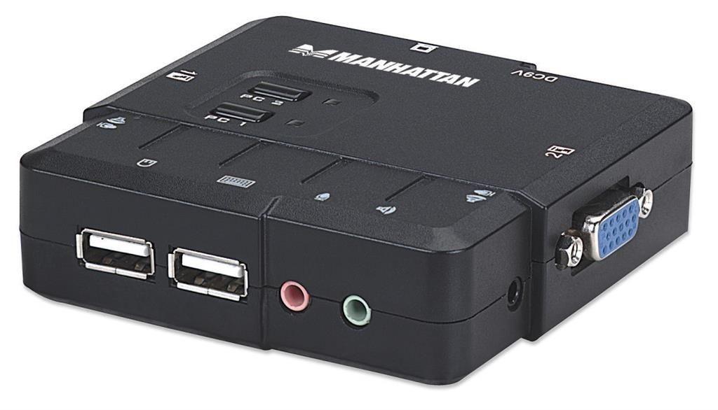 Manhattan Przełącznik KVM, 2-portowy, USB, Audio