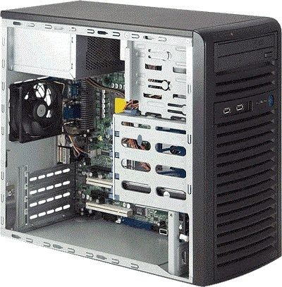 Supermicro Mini-Tower, 300W PS, 4x 3.5 internal tool-less HDD bays, 2x 5.25 peripheral ba
