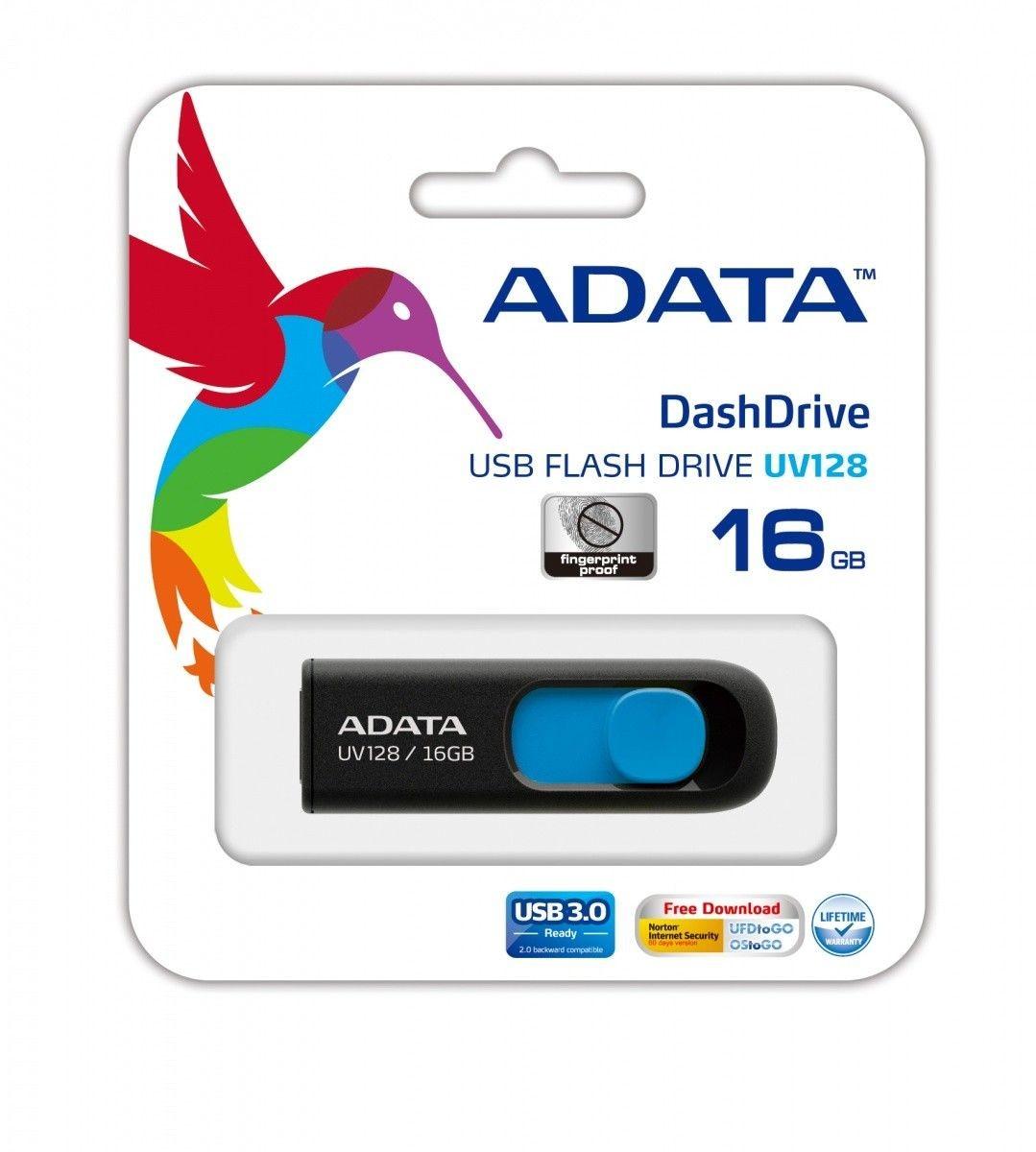 A-Data Adata pamięć USB DashDrive UV128 16GB USB 3.0 Czarny+Niebieski