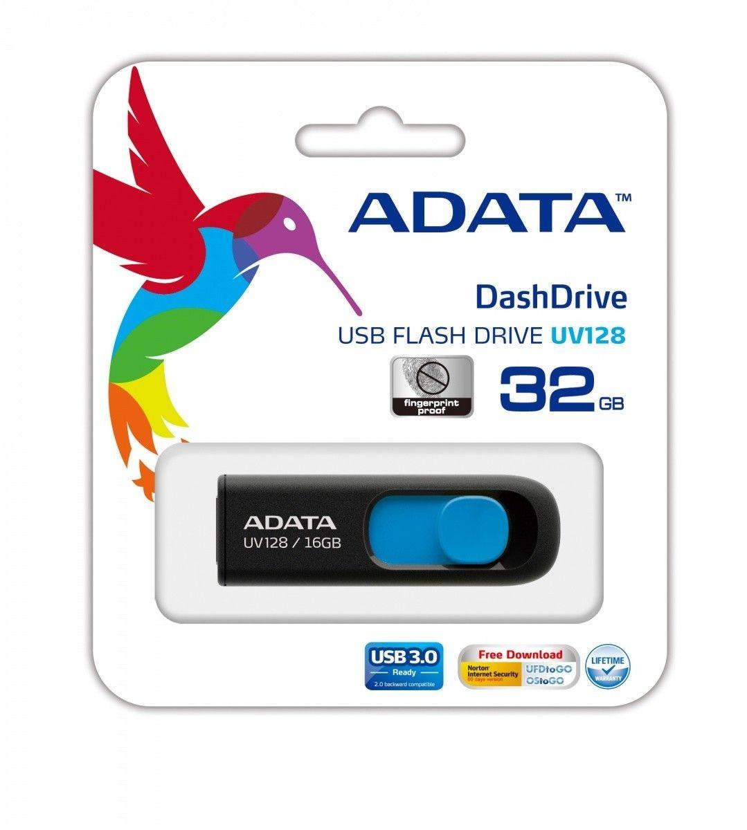A-Data Adata pamięć USB DashDrive UV128 32GB USB 3.0 Czarny+Niebieski