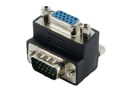 4World Adapter VGA [M] > VGA [F], prawy, czarny
