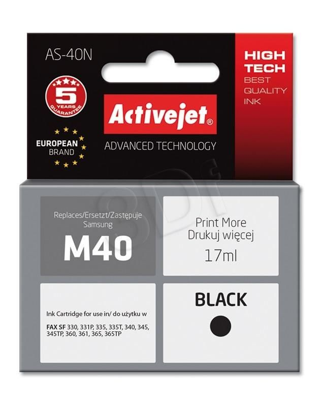 ActiveJet Tusz ActiveJet AS-40N | Black | 17 ml | 100% nowy | Samsung M40