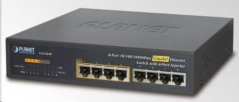 Planet Switch niezarządzalny Planet GSD-804P 4-Port 1000Mb/s + 4-Port PoE+ Desktop