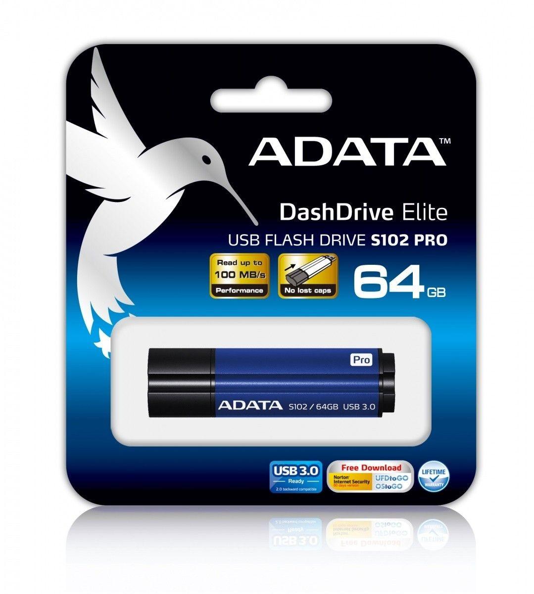 A-Data Adata pamięć USB S102 PRO 64GB USB 3.0 Titanium Niebieski (Zap/Odcz 50/100MB/s )
