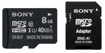 Sony Karta Micro 8GB SD z adaptorem | Class 10 | R70