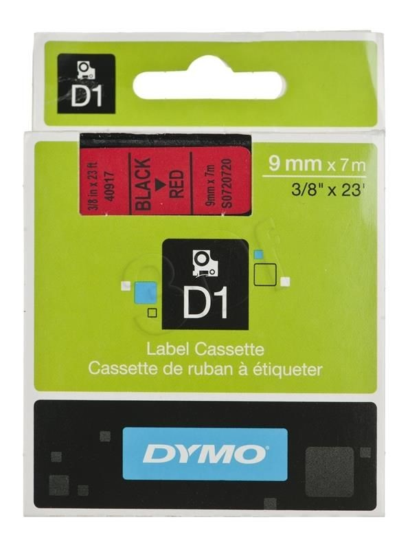 Dymo Taśma Dymo 9mm x7m czarny nadruk na czerwonej taśmie 1szt.