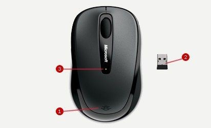 Microsoft L2 Wireless Mobile Mouse3500 Mac/Win EMEA EFR EN/AR/FR/EL/IT/RU/ES Hdwr Black
