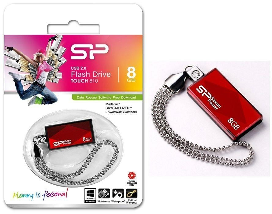 Silicon-Power Pendrive Silicon Power Touch 810 8GB USB 2.0 Swarovski Red