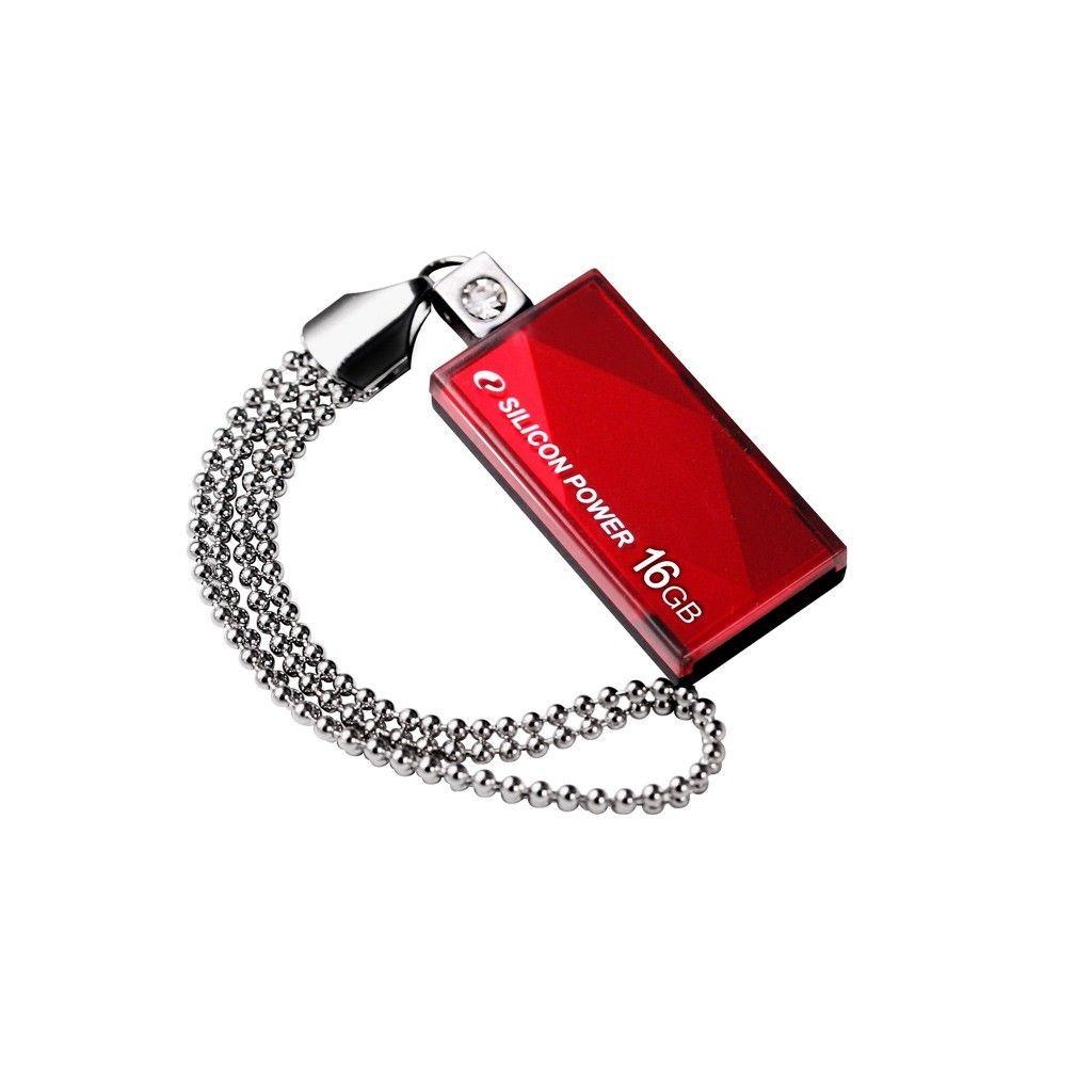 Silicon-Power TOUCH 810 16GB USB 2.0 SWAROVSKI/red/wodoszczelny