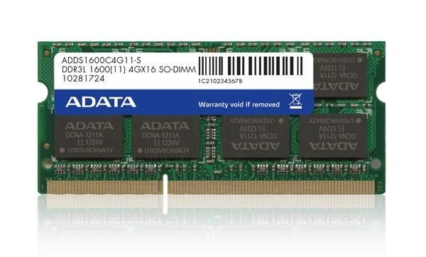 A-Data Pamięć DDR3 SO DIMM 1600 512x8 4GB Single Tray