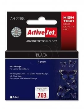ActiveJet Tusz ActiveJet AH-703BS | Czarny | 16 ml | HP 703 CD887AE