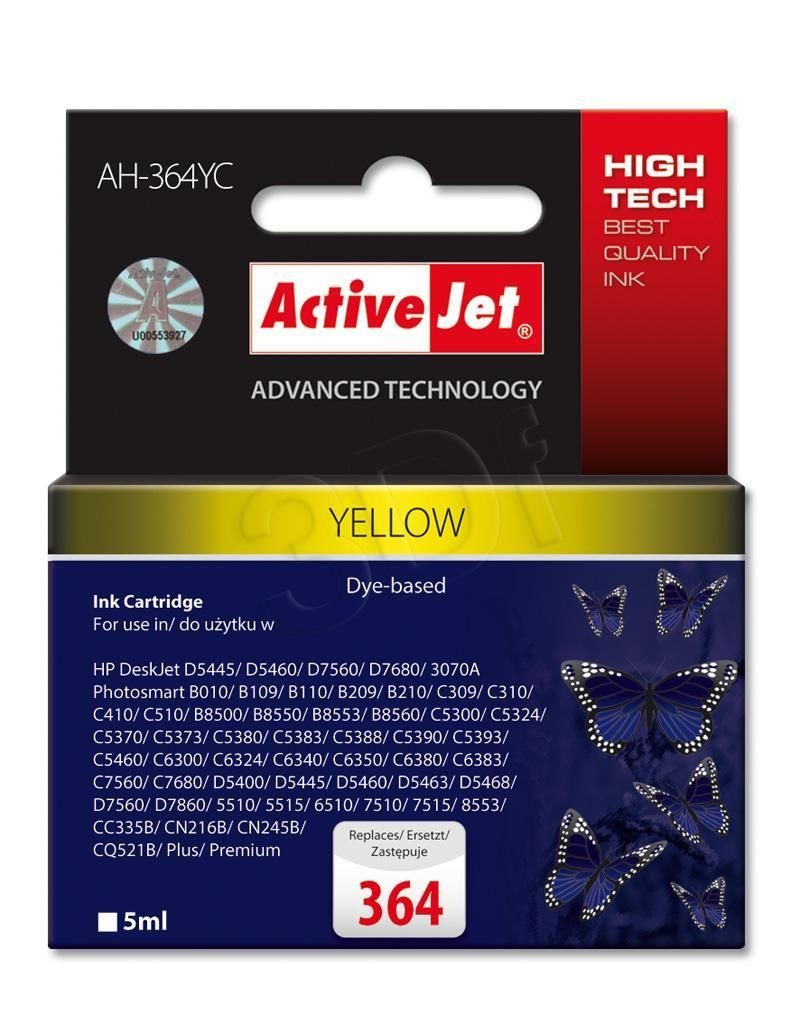 ActiveJet Tusz AH-364YC (do drukarki Hewlett Packard zamiennik HP 364 CB320EE premium 5ml yellow Chip)