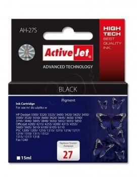 ActiveJet Tusz ActiveJet AH-27S | Czarny | 15 ml | HP 27 C8727A