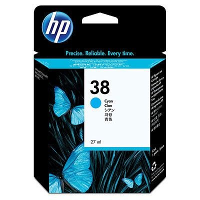 HP 38 Cyan Pigment Ink Cartridge with Vivera Ink (HP Photosmart Pro B9180, 27 ml)
